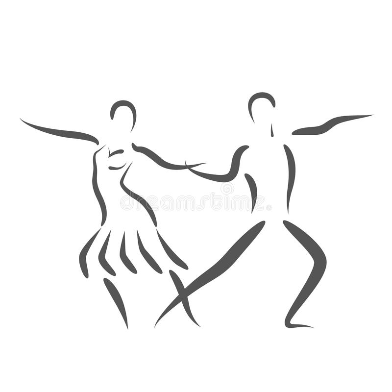 Dansa parlogoen som isoleras på vit bakgrund royaltyfri illustrationer