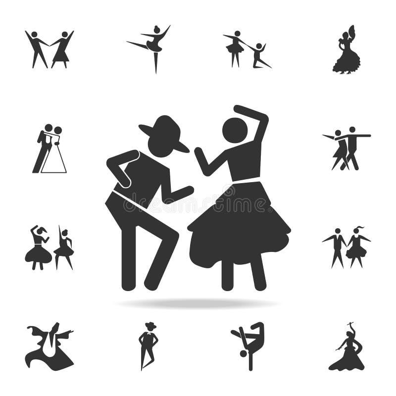 Dansa parsymbolen Uppsättning av folk i dansbeståndsdelsymboler Högvärdig kvalitets- grafisk design Tecken och symbolsamlingssymb royaltyfri illustrationer