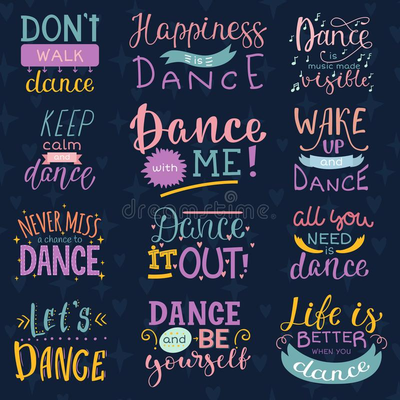 Dansa tecknet för bokstävervektordansen och för tryckillustration för dansare den typografiska uppsättningen av inspirationer för royaltyfri illustrationer