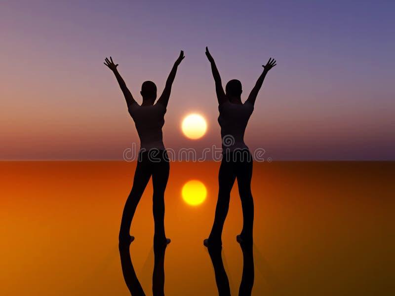dansa två kvinnor stock illustrationer
