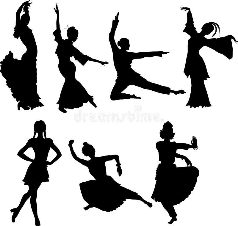 dansar folk stock illustrationer
