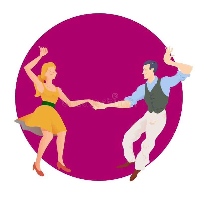 Dansare av Lindy flygtur Mannen och kvinnan som isoleras på purpurfärgad rund bakgrund Plan vektorillustration av den sociala dan royaltyfri illustrationer