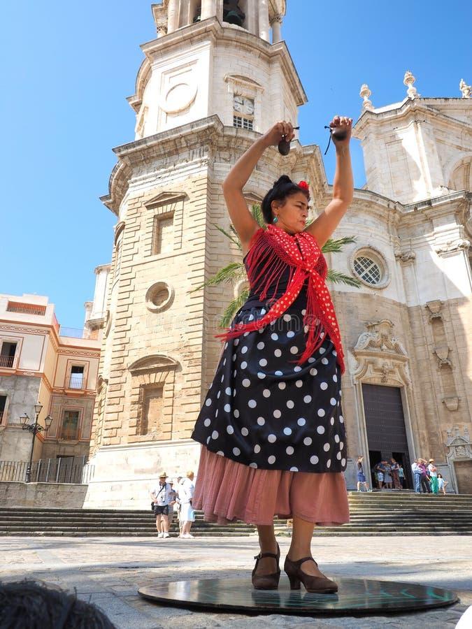 dansare dansar spanjor för illustration för ventilatorflamencoflicka arkivfoto