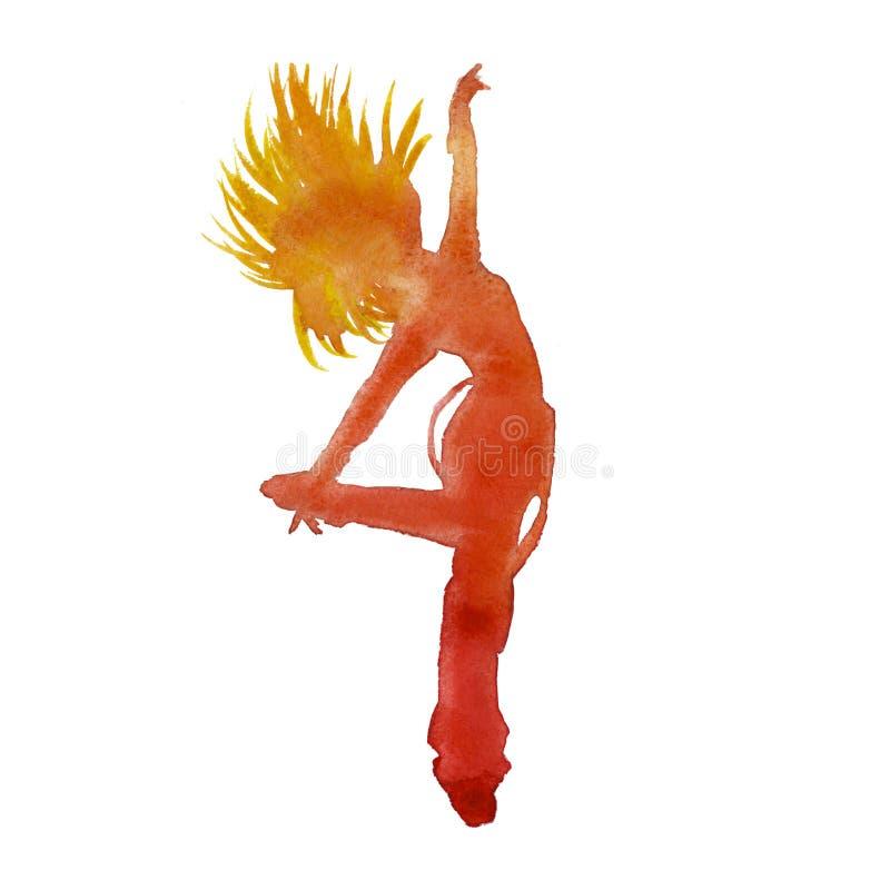 Dansare i höftflygtur isolerat vattenfärg royaltyfri illustrationer