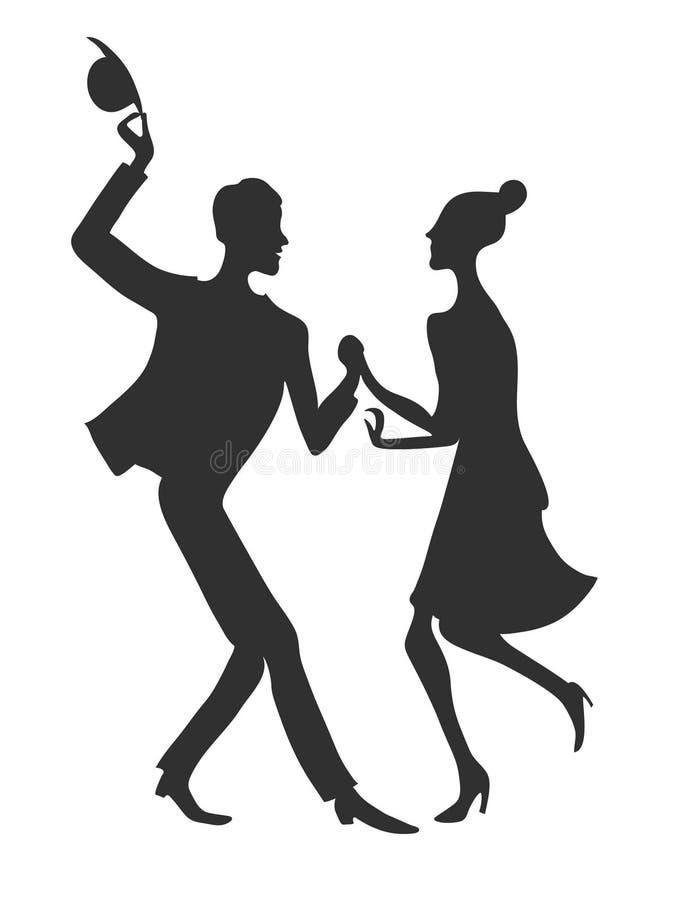 Dansare man och kvinna Utdragen kontur för vektorhand royaltyfri illustrationer