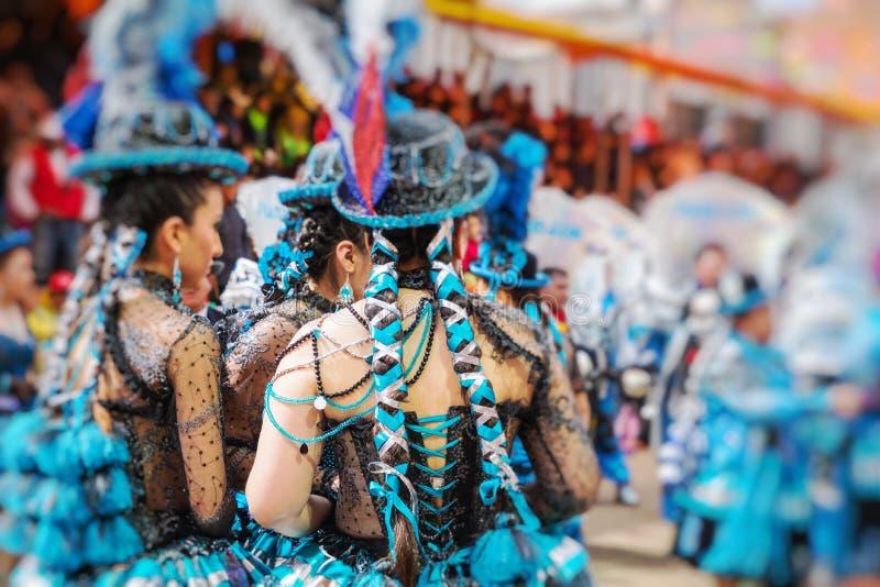 Dansare på den Oruro karnevalet i Bolivia Selektivt fokusera arkivbilder