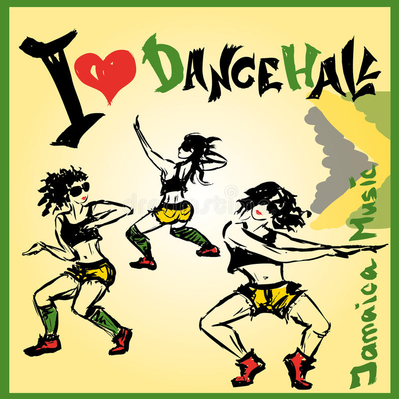 Dansaredancehallstil, handteckning stock illustrationer