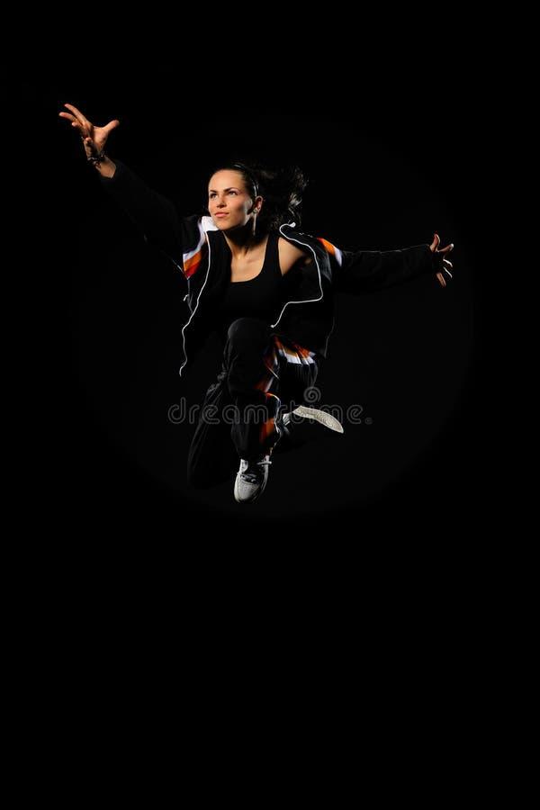 dansarekvinnligbanhoppning royaltyfri bild