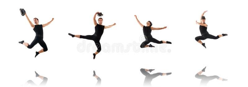 Dansaren som isoleras p? den vita bakgrunden arkivfoto