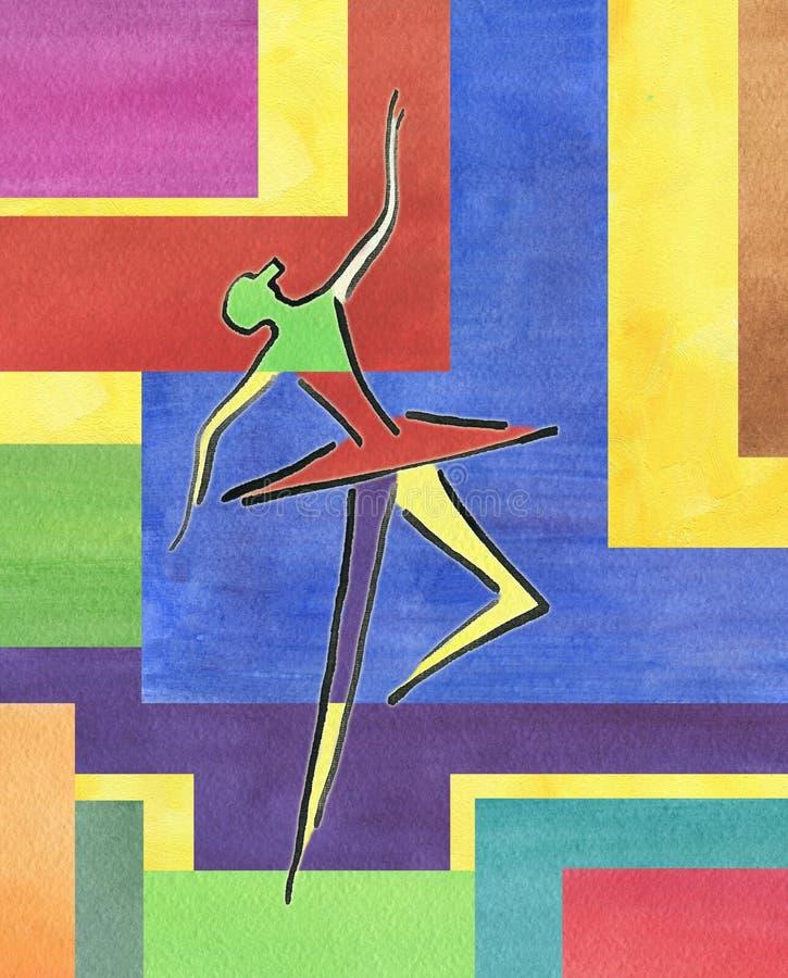 Dansballerina Färgpulverteckning, vattenfärgmålning stock illustrationer