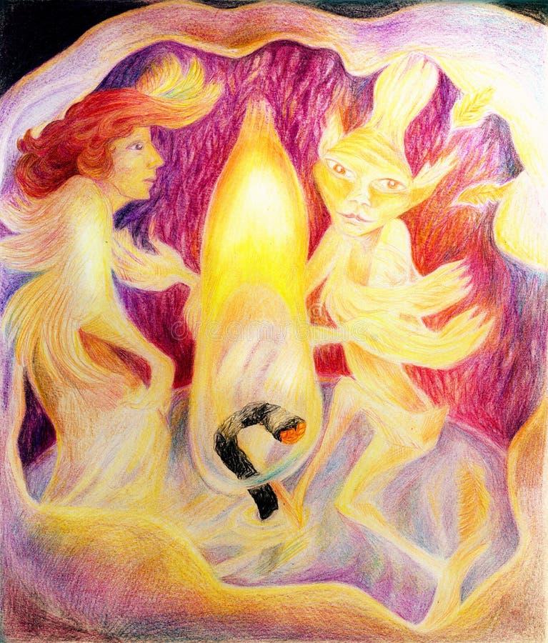 Danse à l'intérieur d'une bougie avec un esprit élémentaire du feu de lumière de bougie illustration de vecteur