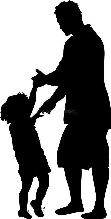 Danse avec la silhouette de papa illustration libre de droits