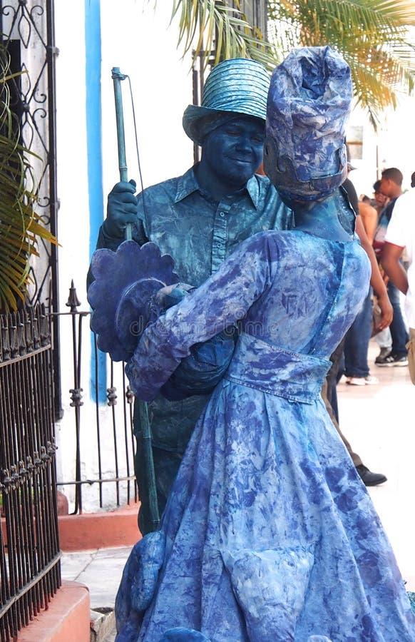 Danse bleue de couples photos stock