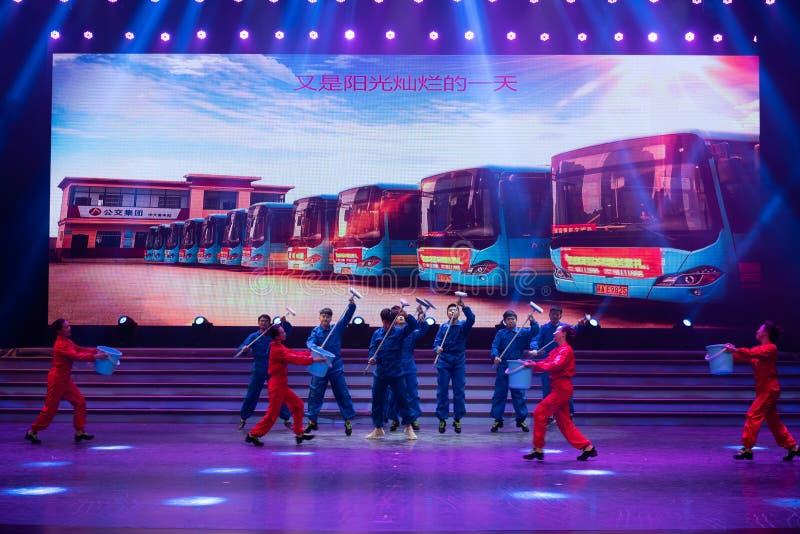 Danse conducteur-moderne d'autobus photographie stock