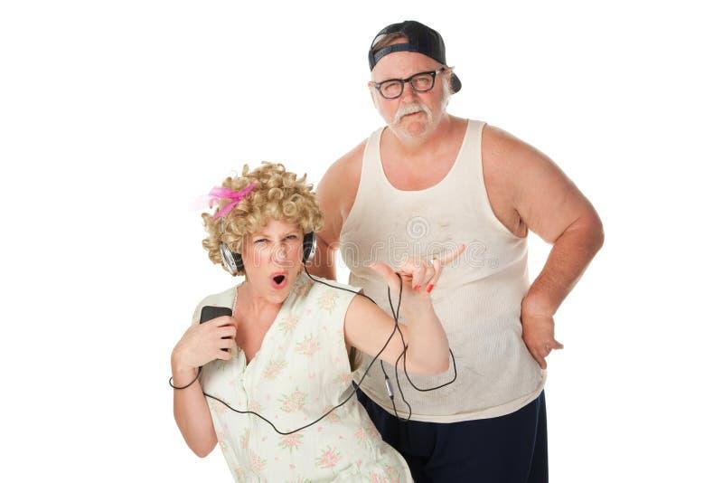 Danse d'épouse de montagnard avec le mari contrarié image stock