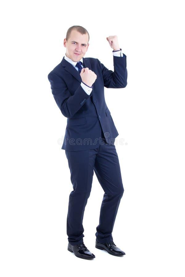 Danse d'homme d'affaire louche d'isolement sur le blanc images stock