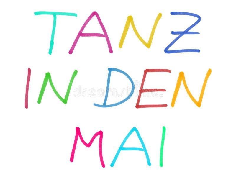 Danse dans mai allemand - texte manuscrit coloré illustration libre de droits