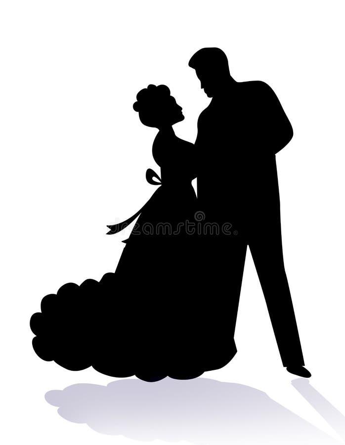 Danse de couples ensemble/amoureux illustration stock