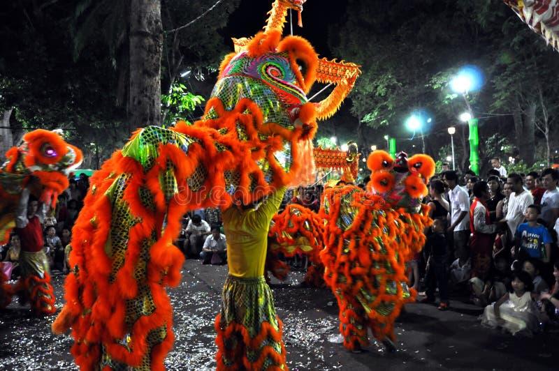 Danse de dragon pendant année lunaire de Tet la nouvelle au Vietnam photo stock