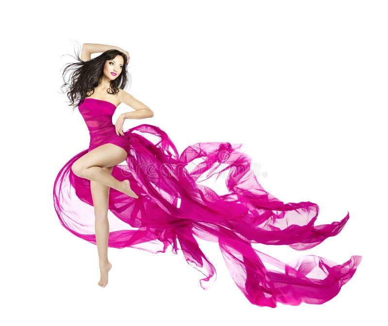 Danse de femme dans la robe de flottement, danseur de mannequin avec le wav photographie stock libre de droits