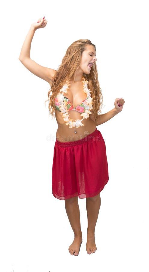 Danse de fille à l'arrière-plan blanc photographie stock libre de droits