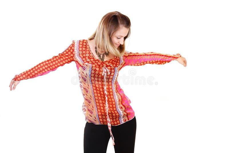 Danse de fille au-dessus de blanc images stock