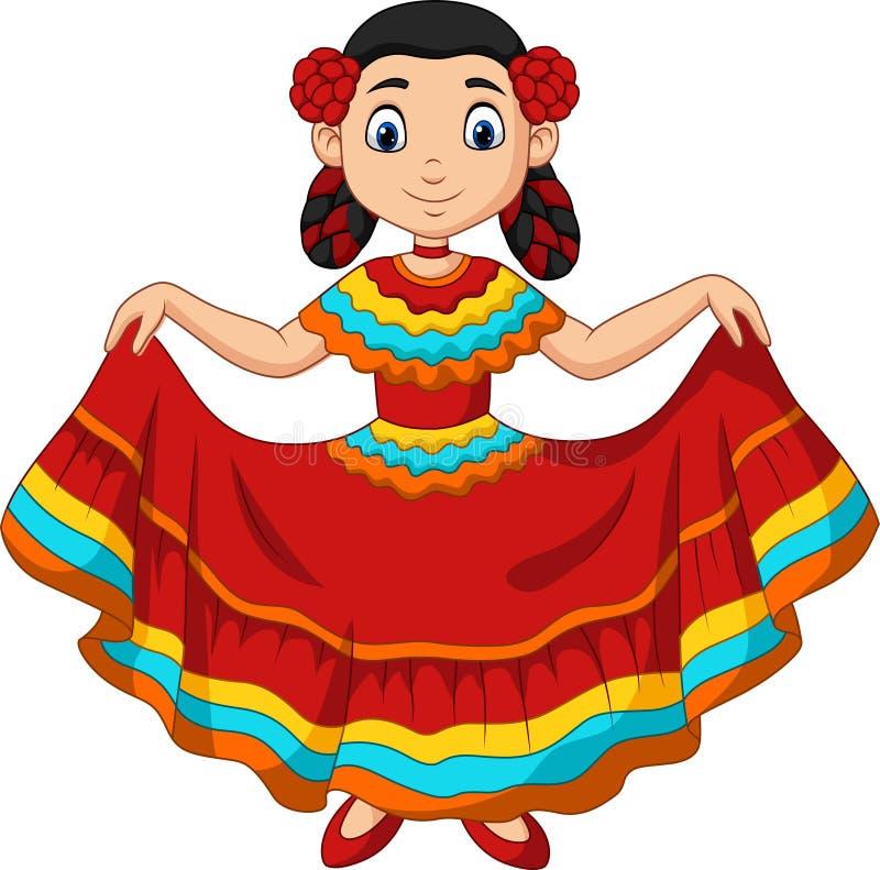 Danse de fille de bande dessin?e, c?l?bration de Cinco De Mayo illustration libre de droits