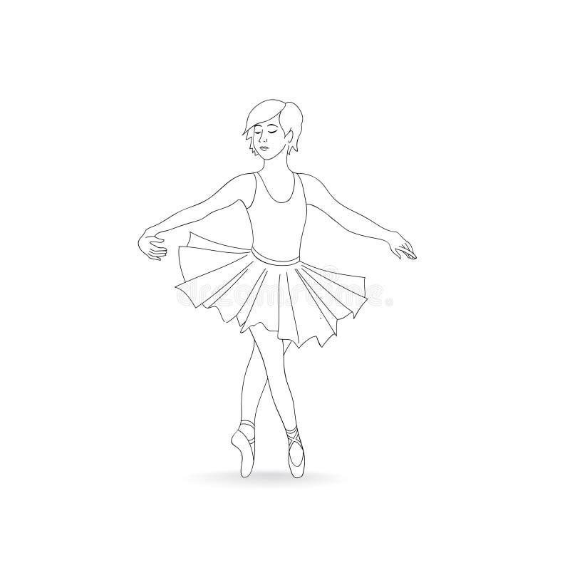 Danse de fille dans les chaussures de ballet et le tutu de ballet Petite ballerine illustration libre de droits