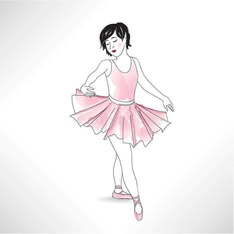 Danse de fille dans les chaussures de ballet et le tutu de ballet Petite ballerine i illustration stock