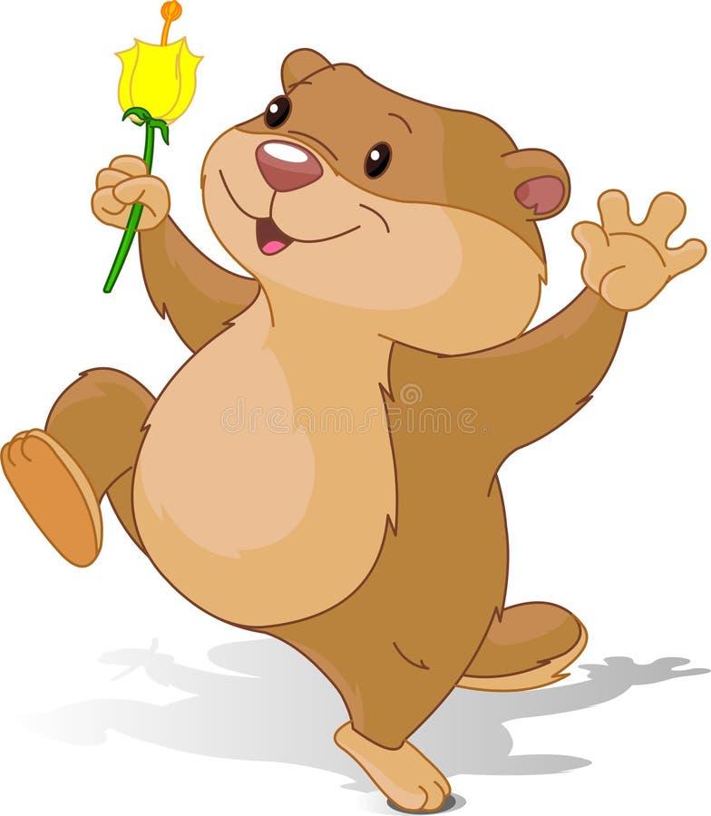 Danse de Groundhog avec la première fleur illustration de vecteur