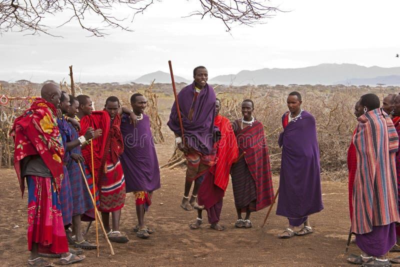 Danse de guerriers de Mara de masai images libres de droits