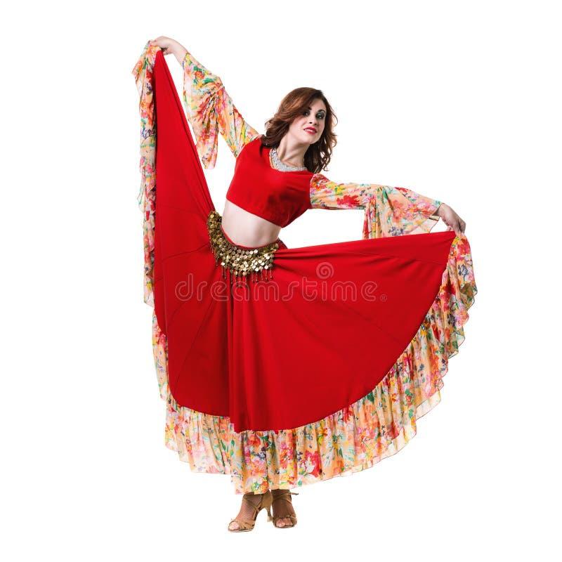 Danse de jeune femme, d'isolement dans le plein corps sur le blanc image libre de droits