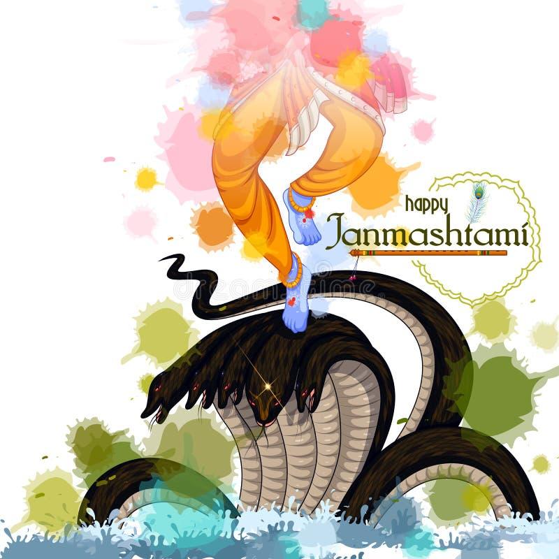 Danse de Krishna sur le serpent de Kaliya sur le fond heureux de festival de Janmashtami de l'Inde illustration de vecteur