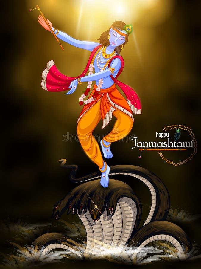 Danse de Krishna sur le serpent de Kaliya sur le fond heureux de festival de Janmashtami de l'Inde illustration libre de droits