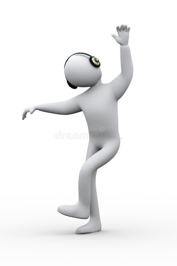danse de la personne 3d tout en écoutant la musique illustration libre de droits