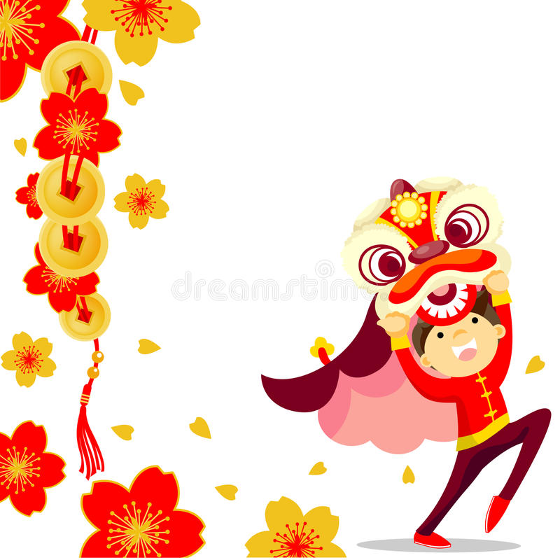 Danse de lion chinoise illustration de vecteur