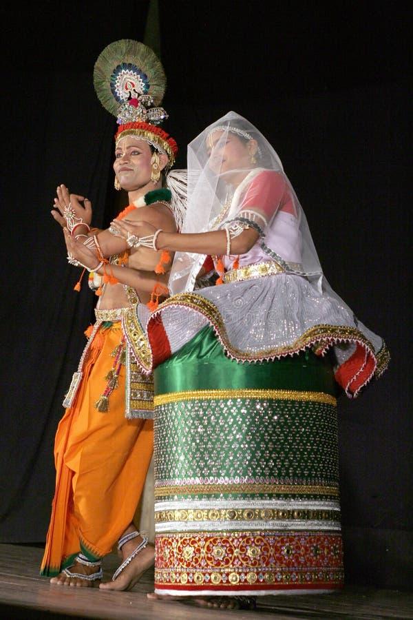 Danse de sircar-Manipuri de Sri et de Smt.savanabrata photographie stock