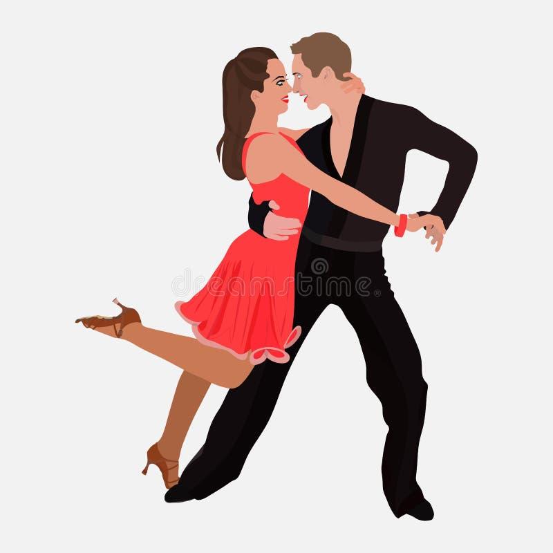 Danse de sport de salle de bal, samba de danse de couples, danse de studio de danse photographie stock libre de droits
