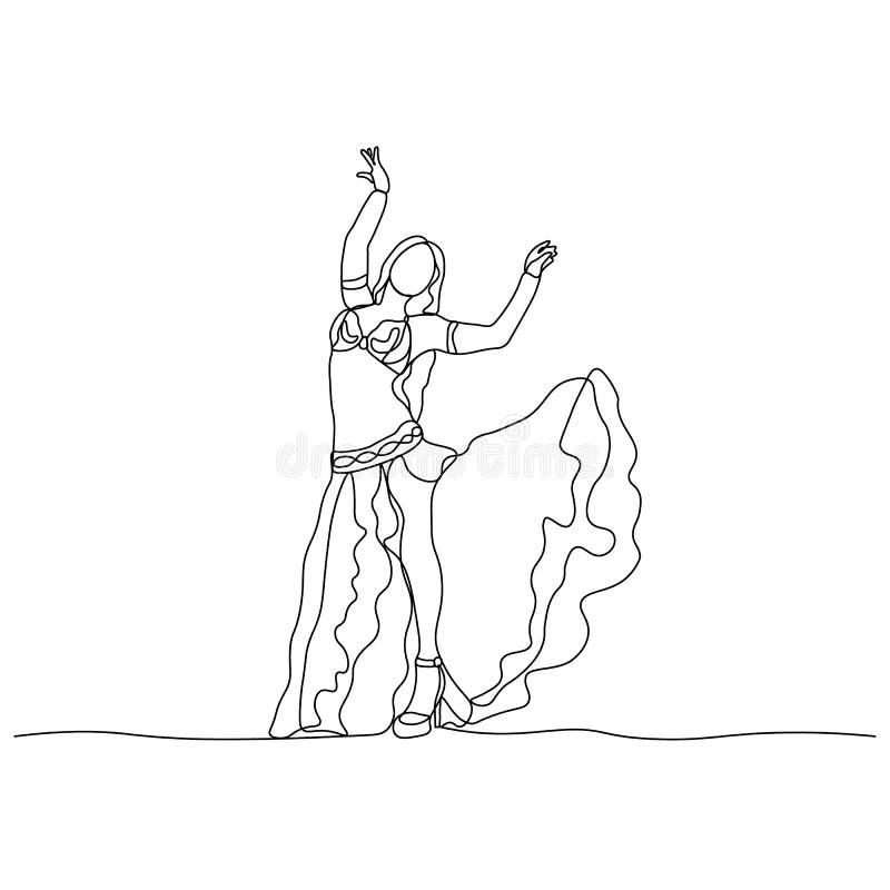 Danse de ventre Tane turc Fille de danse représentée par une ligne continue Illustration d'isolement par vecteur illustration stock