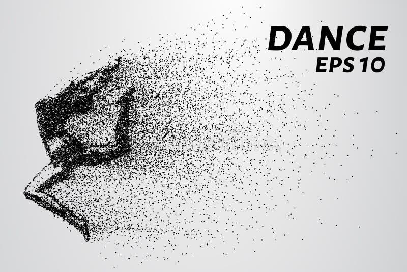 Danse des particules Danse de fille dans le saut Un danseur exécute les éléments acrobatiques Illustration de vecteur illustration libre de droits