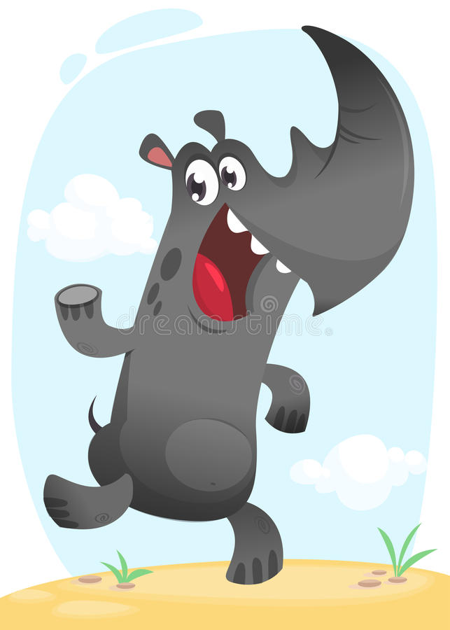 Danse drôle de rhinocéros de bande dessinée Collection animale tropicale sauvage D'isolement sur le fond blanc Illustration de ve illustration de vecteur