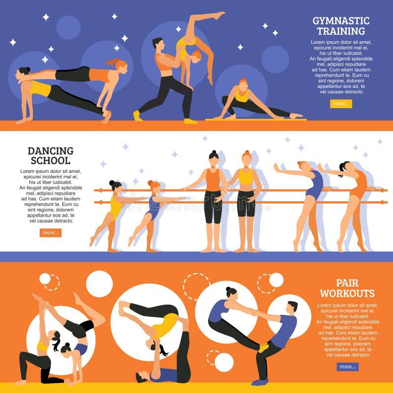 Danse et bannières gymnastiques de formation réglées illustration de vecteur