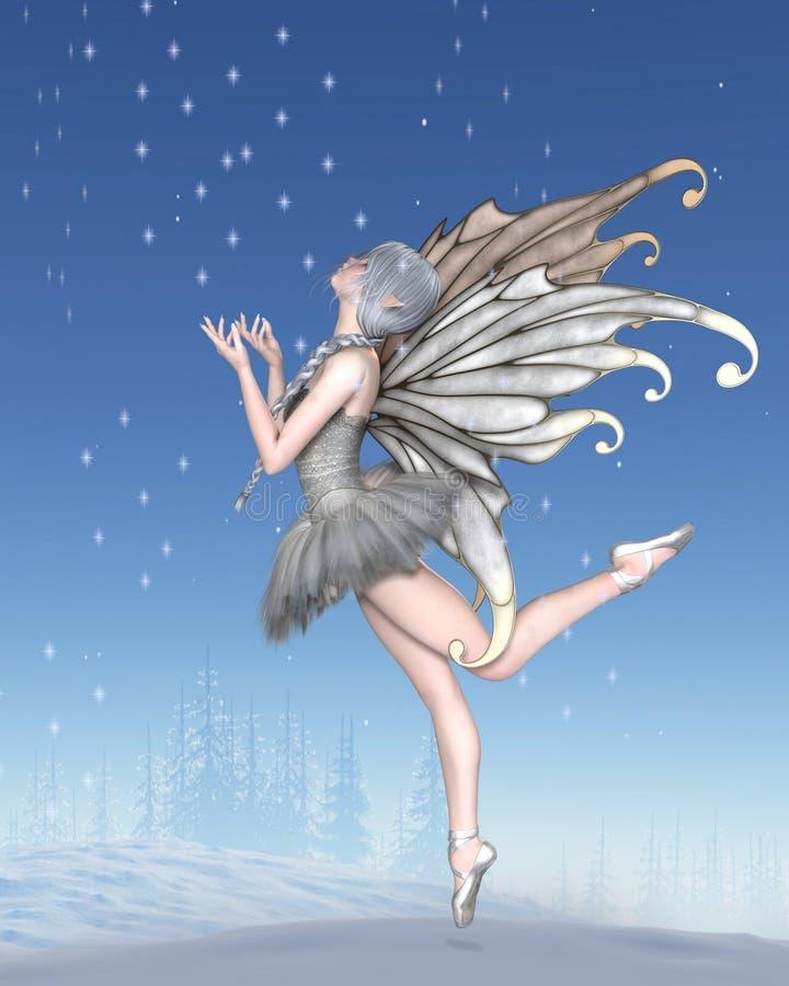Danse féerique d'hiver de ballerine dans la neige illustration libre de droits