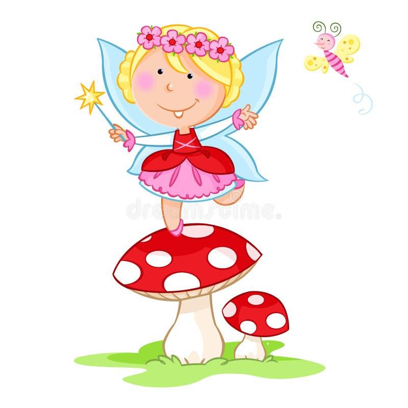 Danse féerique de belle petite fleur et petit papillon heureux - fond blanc illustration stock
