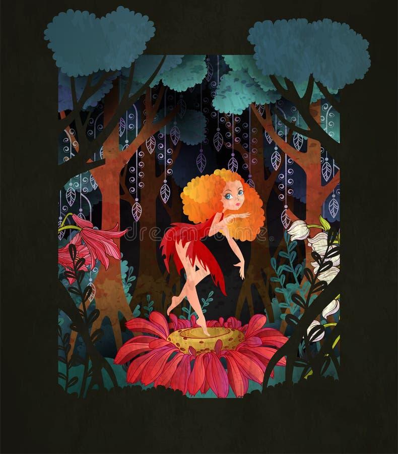 Danse féerique mignonne sur la fleur devant l'illustration magique de vecteur de conte de fées de forêt illustration de vecteur