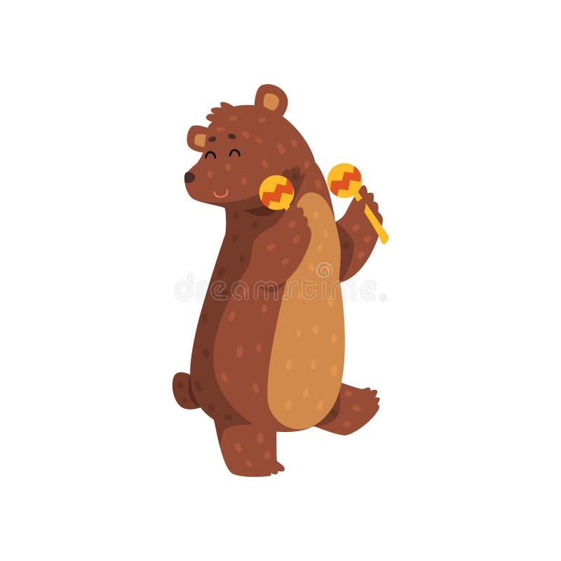 Danse heureuse d'ours brun avec des maracas Animal sauvage de bande dessinée illustration stock