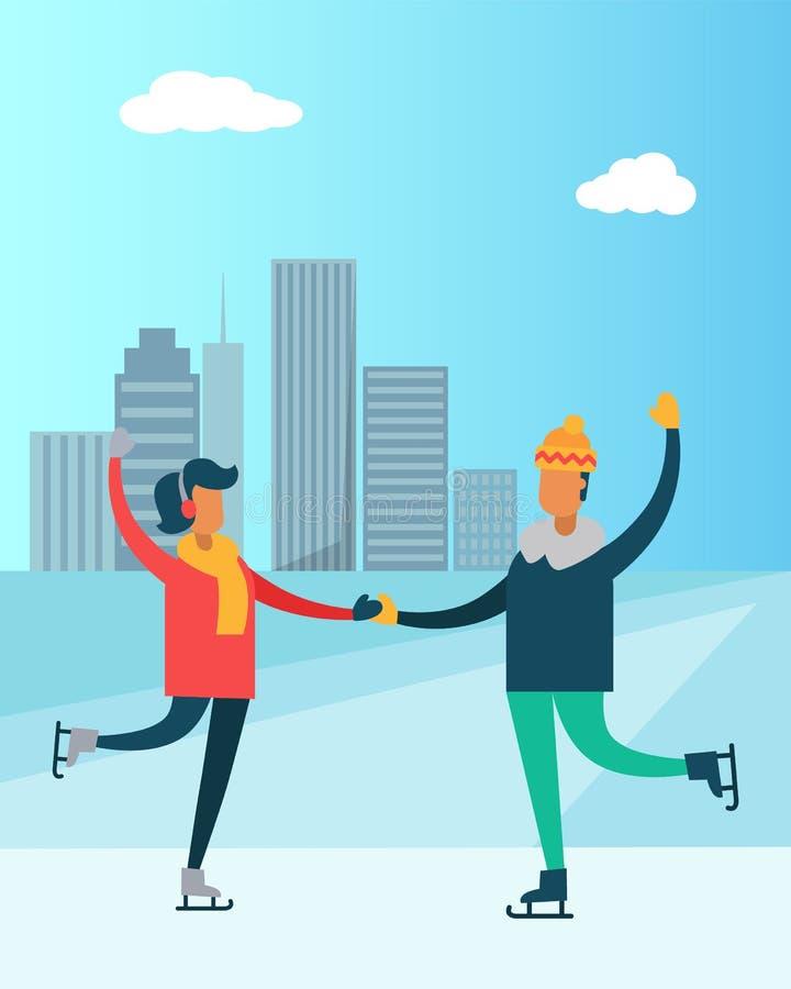 Danse heureuse de couples sur les raies homme et la ville de femme illustration de vecteur