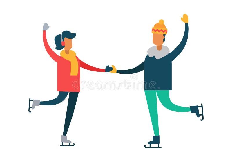 Danse heureuse de couples sur les raies, l'homme et la femme illustration de vecteur