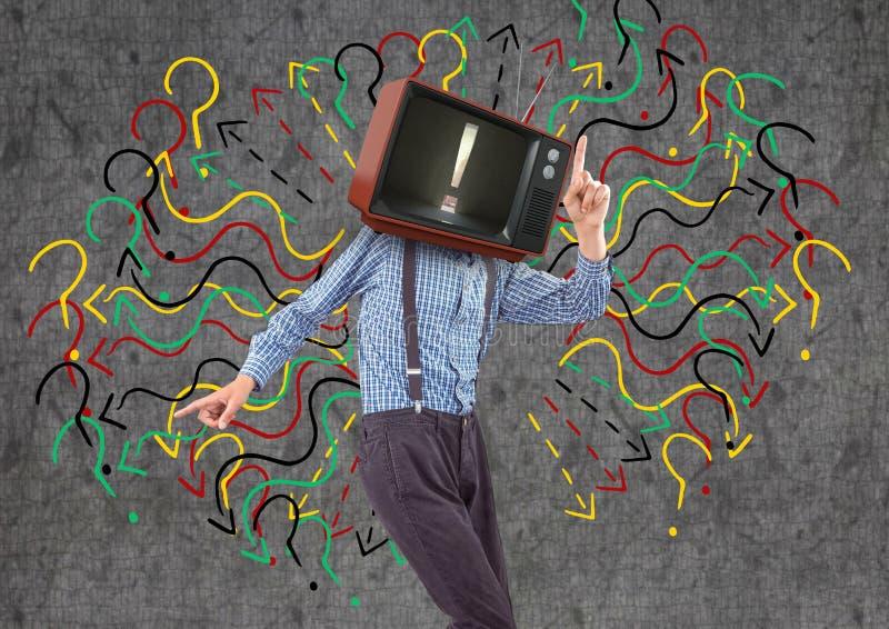Danse heureuse de garçon, visage de TV photos stock