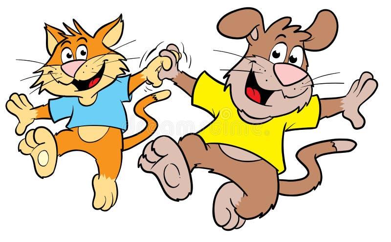 Danse mignonne de chat et de crabot de dessin animé illustration de vecteur